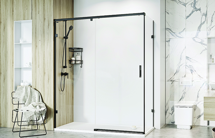 BCFA RomanLiberty One Sliding Door for corner in matt black finsih 700x450